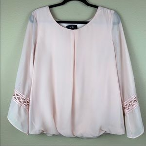 • AGB • Pink Split Front Elastic Waist Top